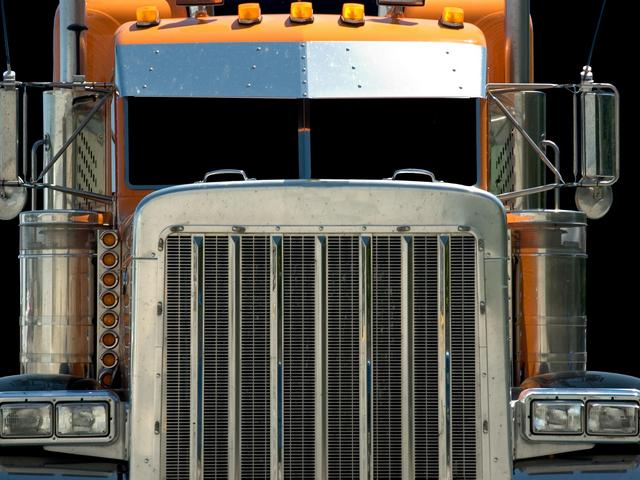 A frontal view of a semi