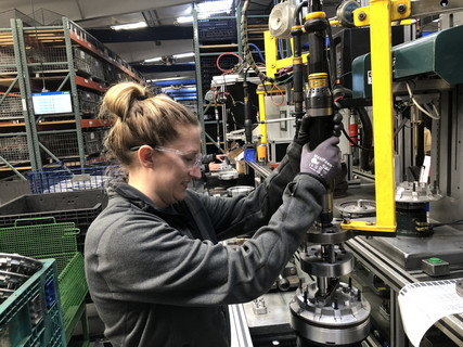 Women working on assembly line in Britton location